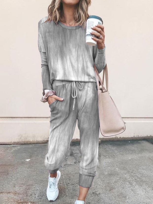 Tie-dye Printed Long-sleeved Drawstring Top and Casual Pants Suit