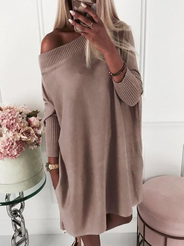 Women'S Fashion Round Neck Slanted Shoulder Mid-Length Sweater Casual Dress