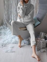 Women's Fashion Simple Long Sleeve Turtleneck Top Pants Knitted Suit