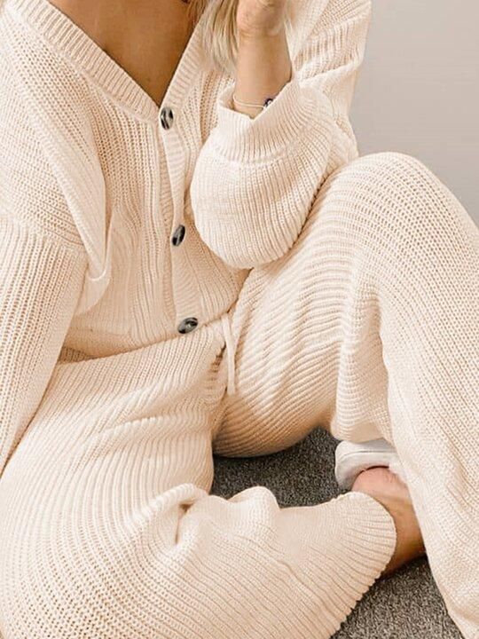 Women'S Fashion V-Neck Sweater Two-Piece Suit