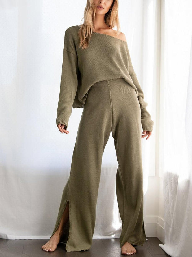Woman Casual Simple l Loose Top Pants Knitted Sets