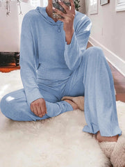 Woman's Simple Loose Casual Lounge Top Pants Knitted Suit