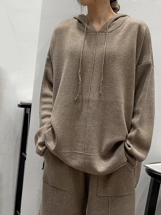 Women'S Simple Casual Hooded Knitted Suit