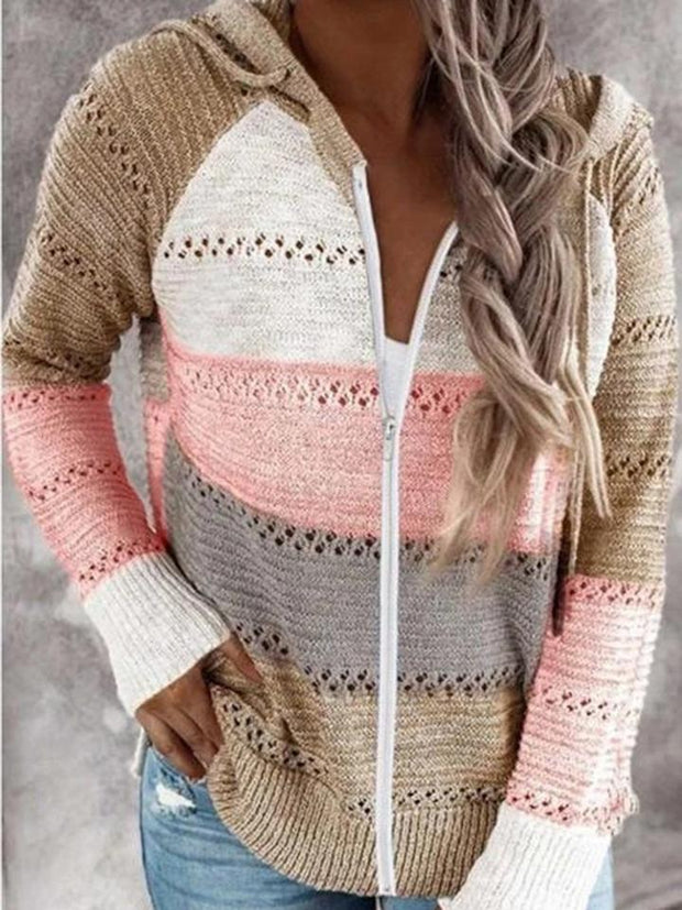 Women's Stripe Zipper Knitted Jacket Hooded Long Sleeve Sweater