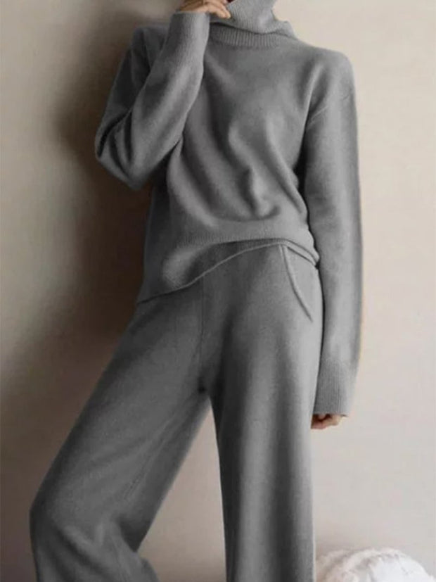 Woman knit casual long sleeve trousers Sets  gray