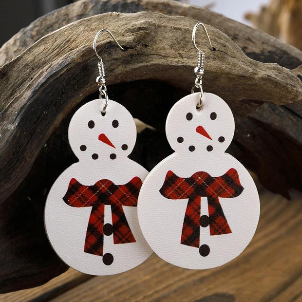 Women'S Christmas Snowman New Leather Earrings