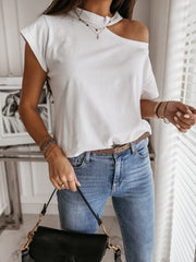 Women's Cotton Cutout Casual O- Neck Unilateral Strapless T-Shirts