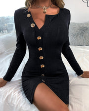 Women'S  Button Design Solid Long Sleeve Bodycon Dress