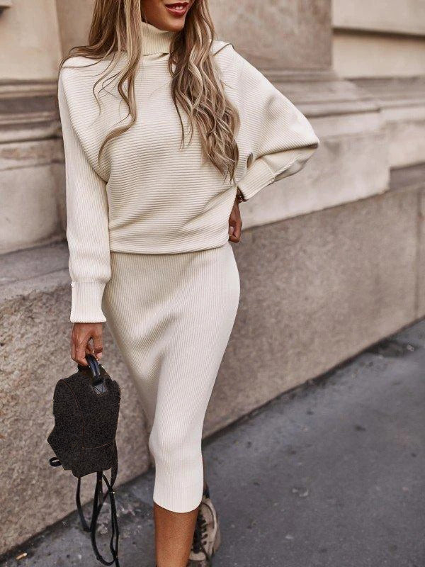 Women'S Fashion Casual Martha Cream Sweater Suit