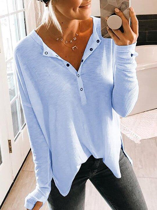 Woman Fashion Button V-neck Long Sleeve Blouse