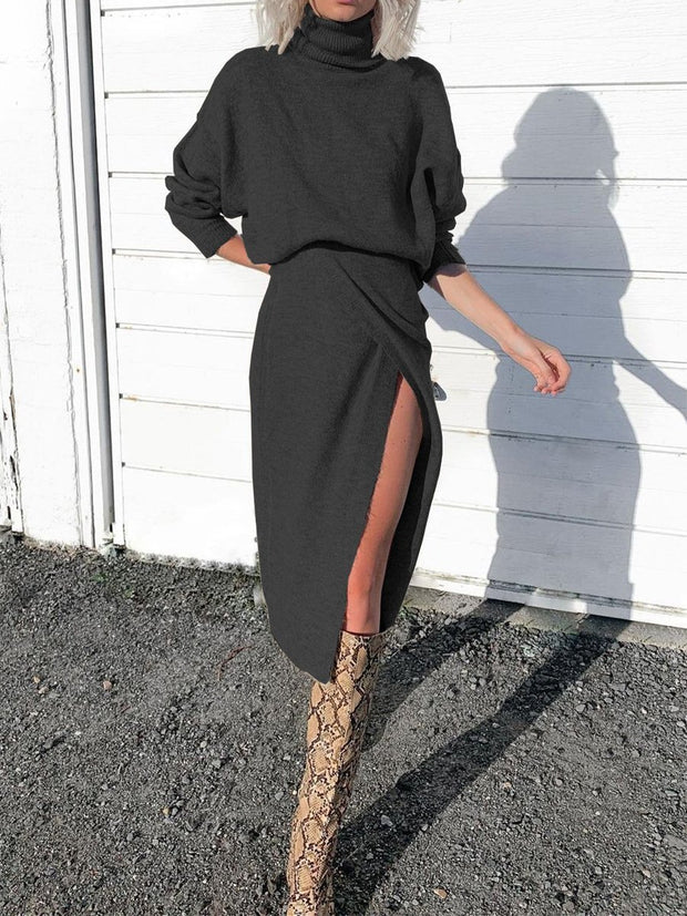 Women'S Fashion Turtleneck Hem Slit Knit Casual Midi Dress