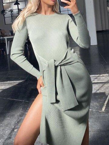 Women's Fashion Casual Solid Color Tie Round Neck Dress