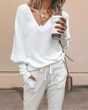 Women'S  Casual Plain V-Neck Sweater