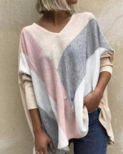Women's Casual V-Neckline Long Sleeve Blouses Knit Top
