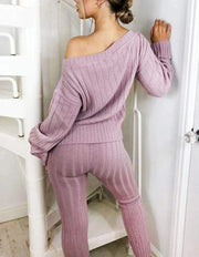 Women'S Fashion Loose Round Neck Striped Purple Sexy Two-Piece Suit
