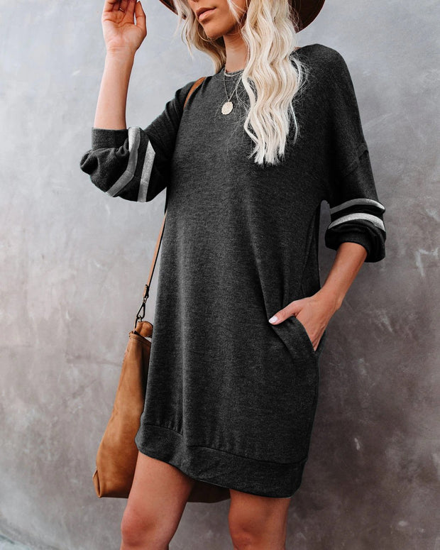 Women'S Elegant Long Sleeve Splicing Pullover Dress