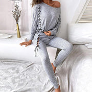 Women'S Two-Piece Solid Color Long-Sleeved Top Casual Pants Sports Suit