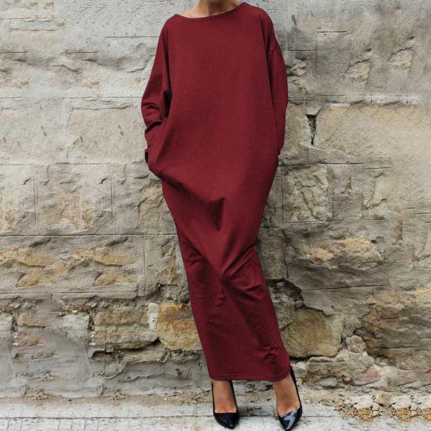 Women'S Temperament Women'S Collage Mid-Length Dress Long Sleeve Round Neck OL Dress