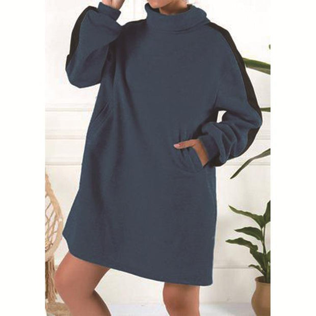 Women'S Fashion High Neck Sweatshirt Dress