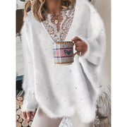 Women'S V-Neck Solid Color Sweater Long-Sleeved Lace Stitching Beaded Sweater