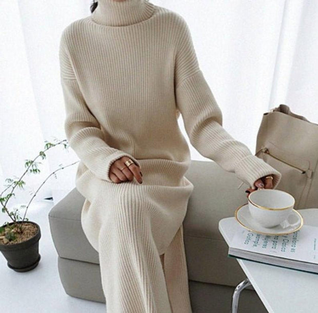 Women'S High Neck Long Base Knitted Sweater Dress