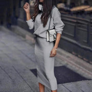 Women'S White Long Sleeve Turtle Neck Casual Dress Suits