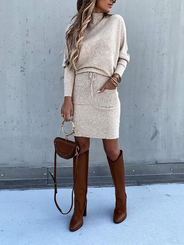 Women'S Fashion Beige Sweater Suit