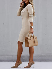Women'S Pocket Beige  Gold Buttons Mididress