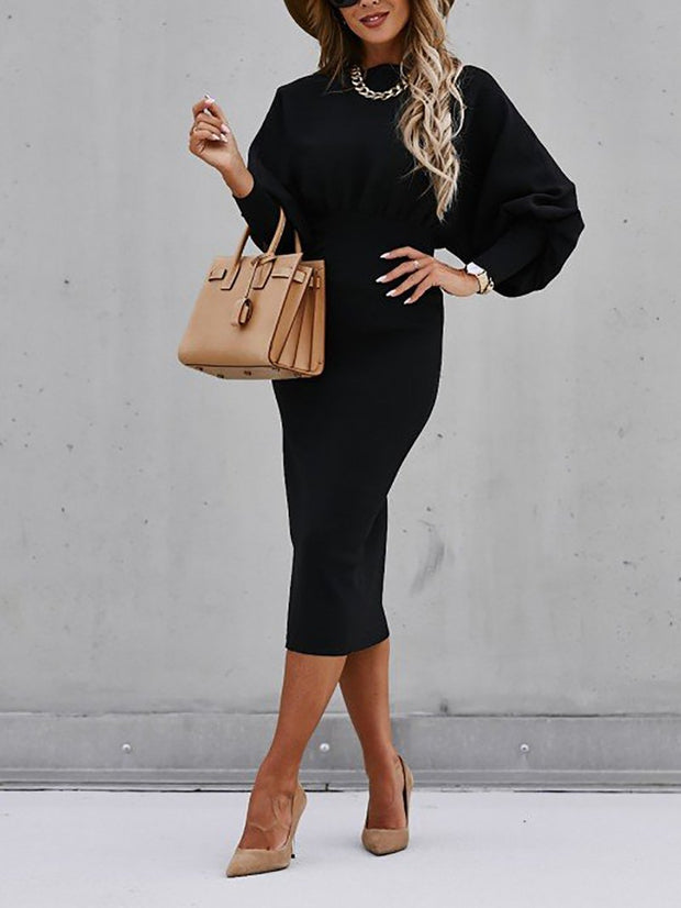 Women'S Fashion Loose Solid Color Sweater Dress