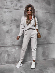 Women'S Plush Hood Cardigan Sweater And Casual Pants Suit