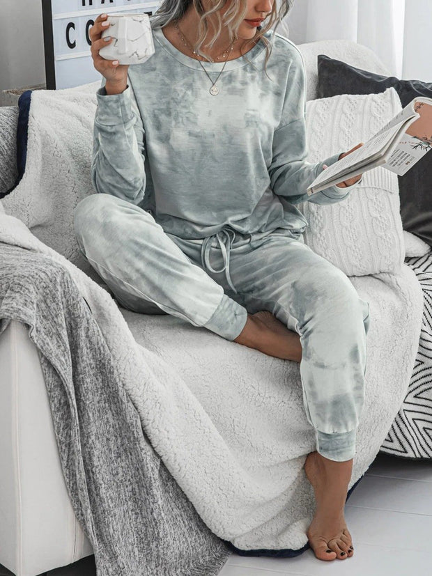 Women'S Fashion Ombre Gray And White Casual Two-Piece Suit