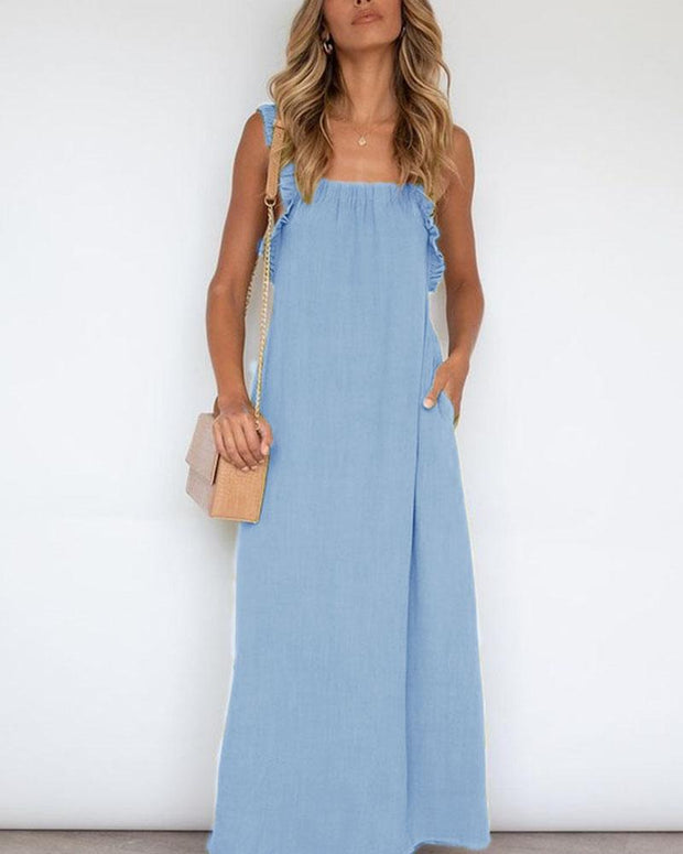 New Casual Women Summer Sleeveless V Neck Fashion Women Loose Long Strap Overalls Jumpsuit
