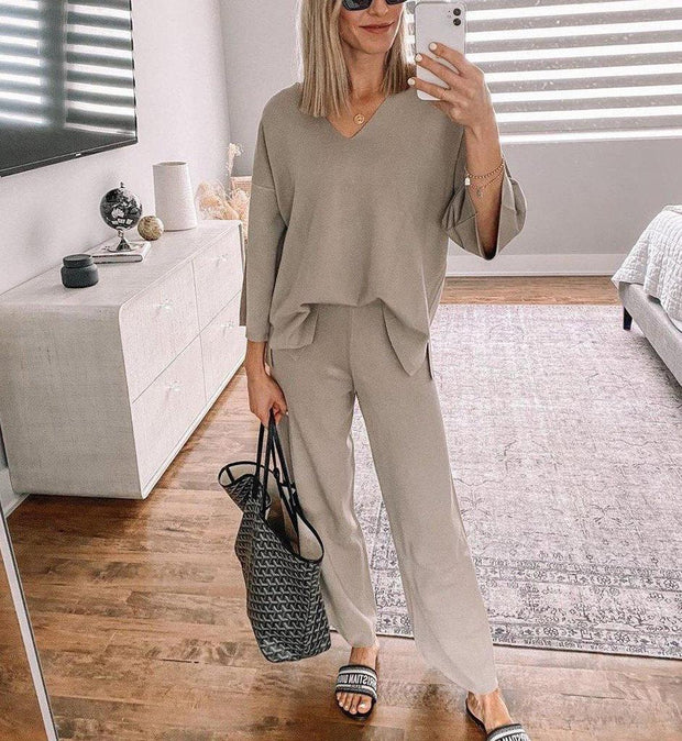 Women'S Fashion Simple And Stylish Plain V-Neck Long Sleeve Suit