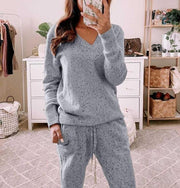 Women'S Fashion V-Neck Long Sleeve Pocket Trousers Casual Two-Piece Suit