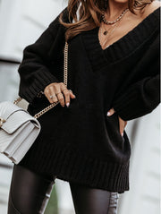 Women'S  Fashionable Soft V-Neck Knitted Sweater