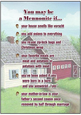 You May Be A Mennonite If (II) - Funny Mennonite Birthday Card - ObaYo.ca