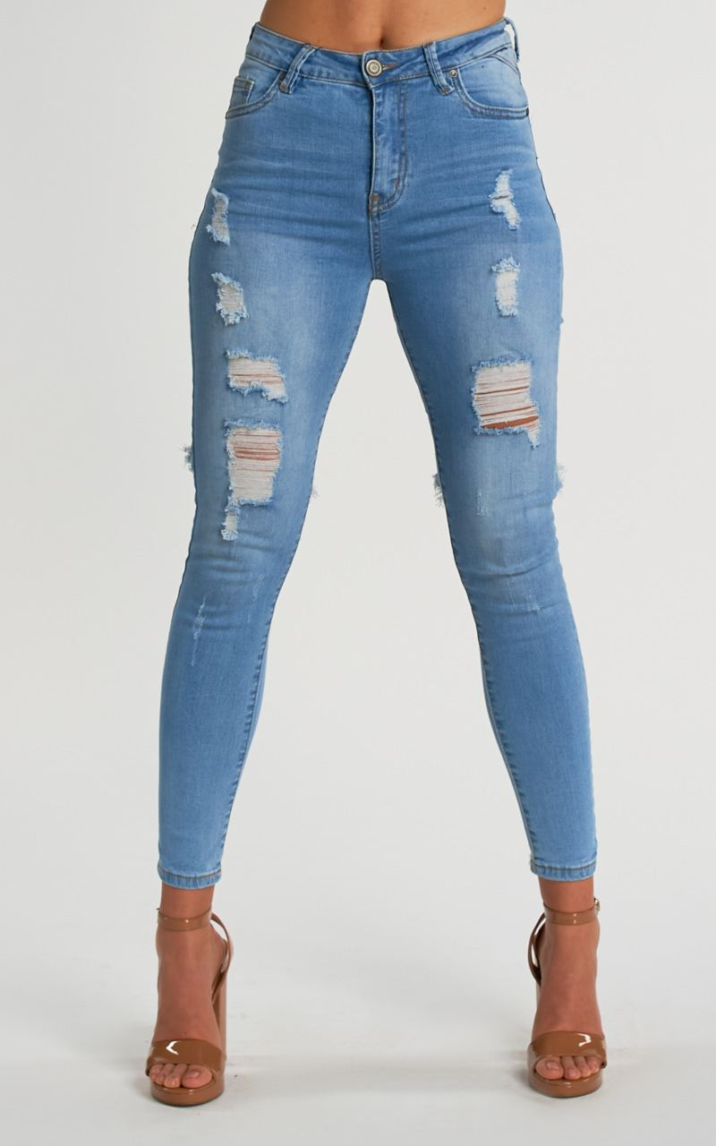 JEANS SKINNY DESTROYED