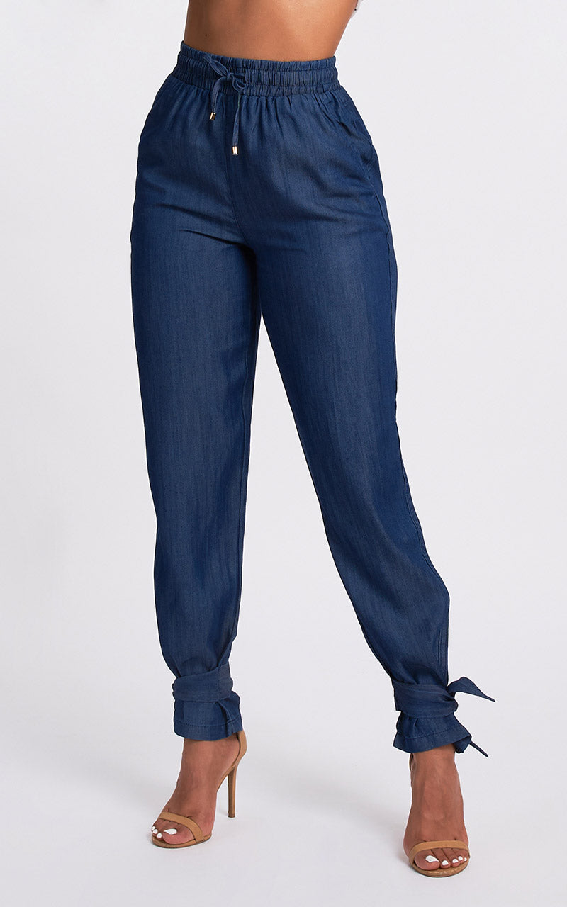 DENIM KNOTTED PANT