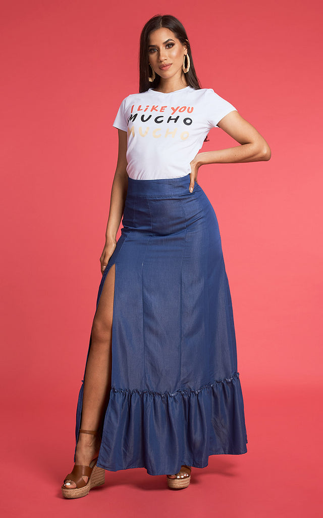 MAXI FALDA DENIM