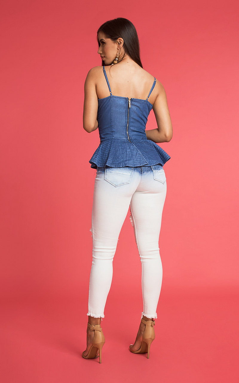 PEPLUM DENIM BLOUSE
