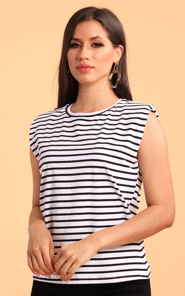BLACK STRIPES MUSCLE TEE