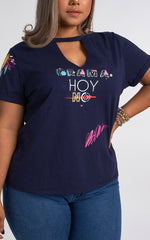 NO DRAMA V-NECK PLUS SIZE T-SHIRT