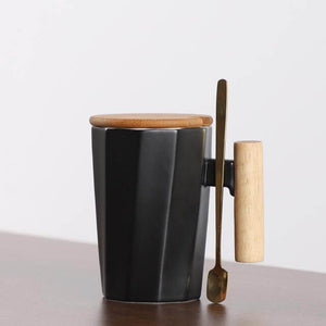 Ceramic Mug with Wooden Lid