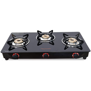 Butterfly Trio Glasstop 3 Burner Gas Stove - Black