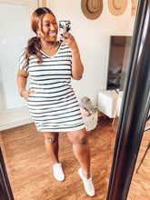 Load image into Gallery viewer, Striped T-Shirt Dress