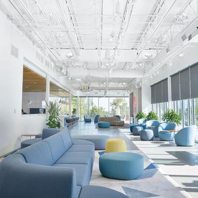 Open empty office with exposed ceiling