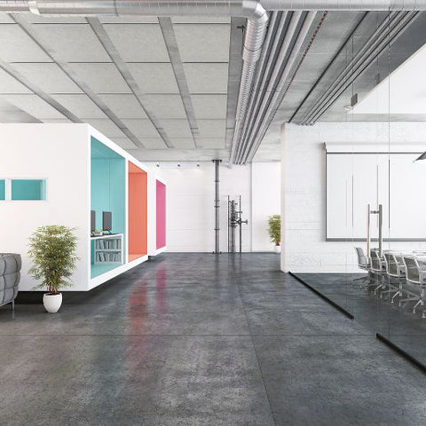 Office with concrete ceiling