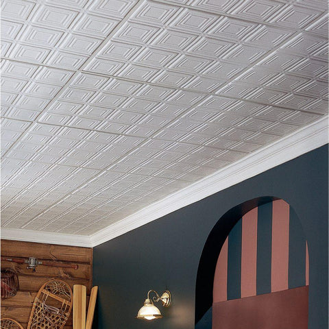 Room with white tincraft ceiling