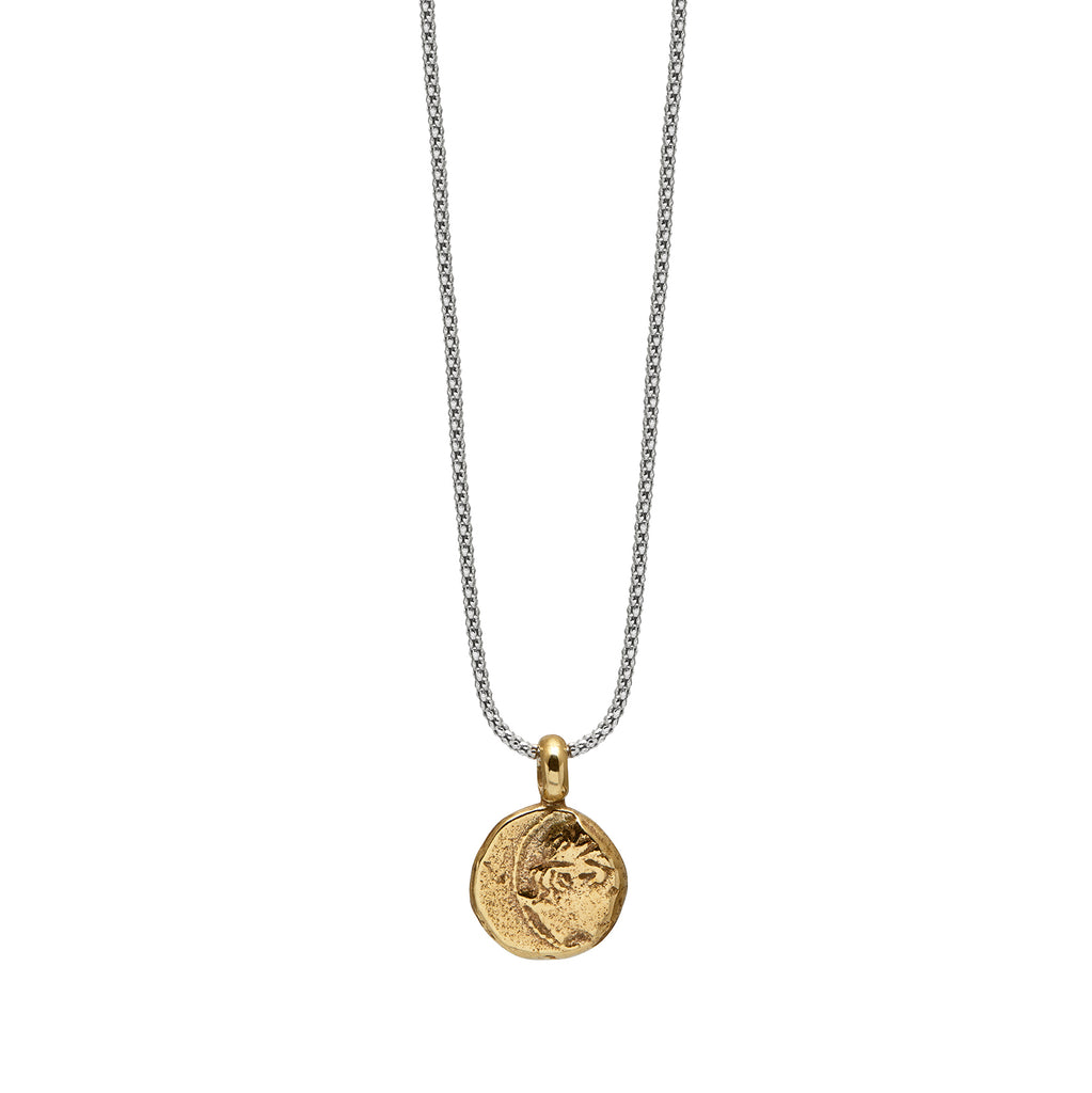 Apollo Necklace in Brass and Rhodian plated silver Chain Front