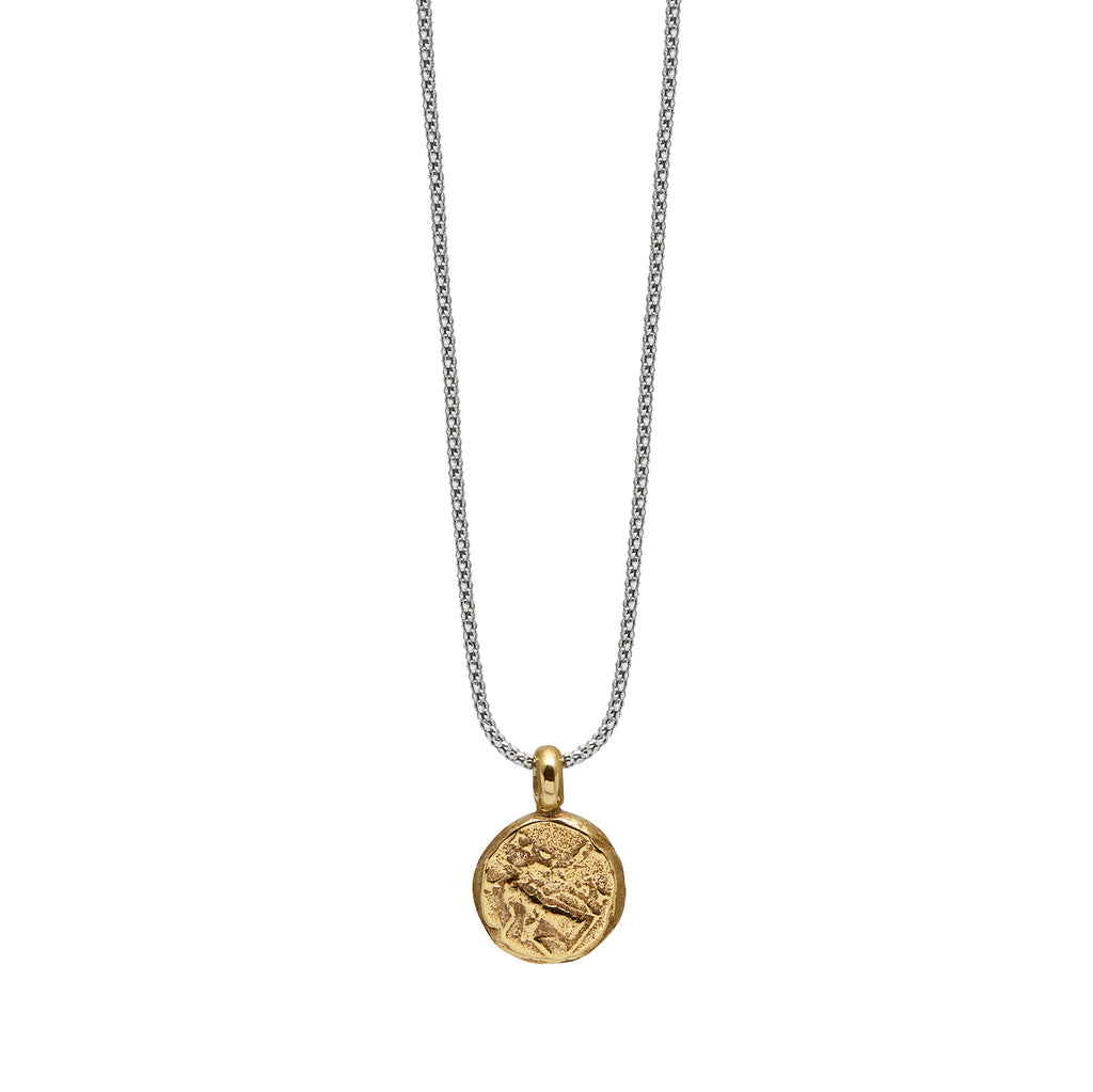 Apollo Necklace in Brass and Rhodian plated silver Chain Back
